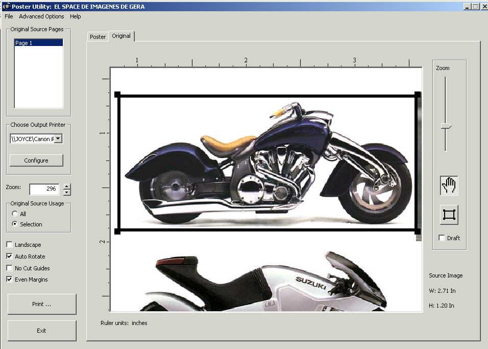 screen shot showing motorcyle image being captured