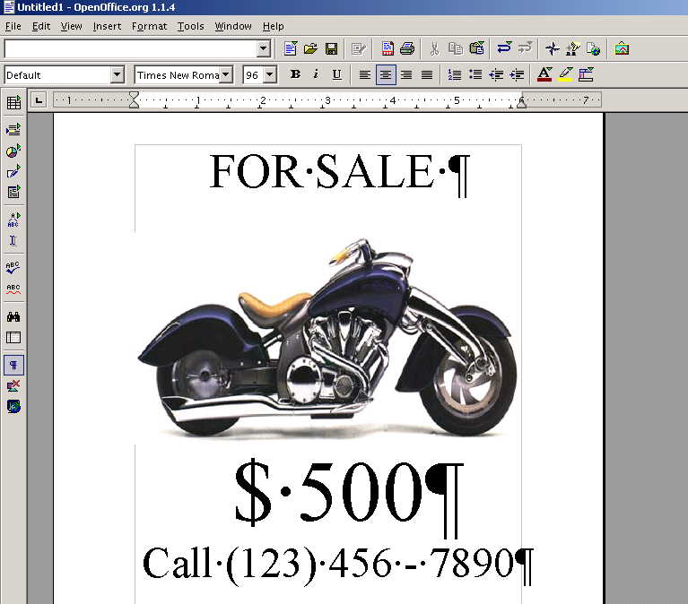 "word processor used to create a normal one page ""motorcycle for sale"" sign"