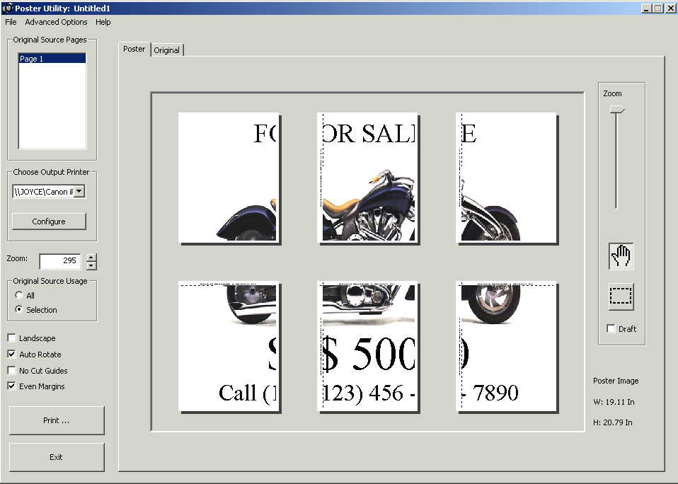 "screen shot showing motorcycle for sale sign enlarged in the ""Poster Utility"""